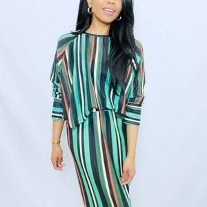 Zara | Green  Striped 2-Piece Skirt and Top Set